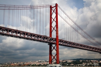 25 de Abril Bridge, connecting both banks of the Targus River